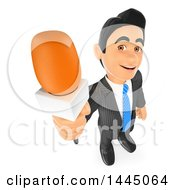 3d Business Man Or Reporter Holding Up A Microphone On A White Background
