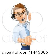 Clipart Of A 3d Business Man Or Call Center Worker Pointing Around A Sign On A White Background Royalty Free Illustration by Texelart