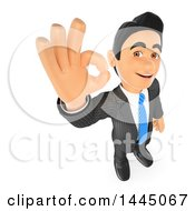 Clipart Of A 3d Business Man Gesturing Perfect Or Ok On A White Background Royalty Free Illustration