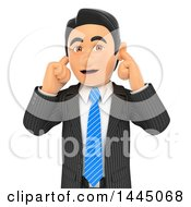 Clipart Of A 3d Business Man Plugging His Ears On A White Background Royalty Free Illustration