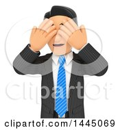 Clipart Of A 3d Business Man Covering His Eyes On A White Background Royalty Free Illustration