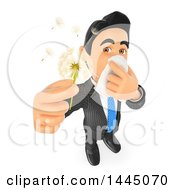 Poster, Art Print Of 3d Business Man With Allergies Holding A Dandelion Seed Head On A White Background