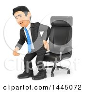 Clipart Of A 3d Business Man Getting Out Of A Chair And Grabbing His Painful Back On A White Background Royalty Free Illustration