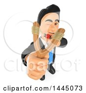 Clipart Of A 3d Business Man Aiming A Slingshot On A White Background Royalty Free Illustration