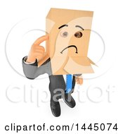 Clipart Of A 3d Business Man Wearing A Sad Box Over His Head On A White Background Royalty Free Illustration