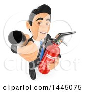 Clipart Of A 3d Business Man Holding Up A Fire Extinguisher Hose On A White Background Royalty Free Illustration by Texelart