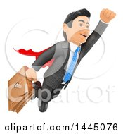 Clipart Of A 3d Super Business Man Flying With A Briefcase On A White Background Royalty Free Illustration