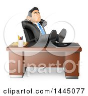 Clipart Of A 3d Business Man Resting In His Office With His Feet Up On A Desk On A White Background Royalty Free Illustration