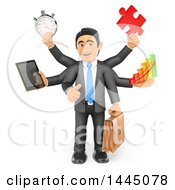 Clipart Of A 3d Busy Multi Tasking Business Man Holding A Tablet Stopwatch Puzzle Piece Bar Graph And Briefcase On A White Background Royalty Free Illustration
