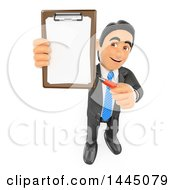 3d Business Man Holding Up A Contract On A Clipboard On A White Background