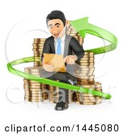 Clipart Of A 3d Business Man Investor Sitting With A Tablet On Stacks Of Coins In An Arrow On A White Background Royalty Free Illustration