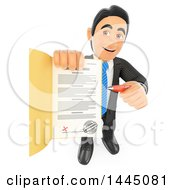3d Business Man Holding Up A Loan Approval Or Application Contract On A White Background