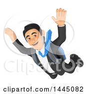 3d Business Man Free Falling While Skydiving On A White Background