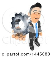 Clipart Of A 3d Business Man Holding Up A Gear Cog Wheel On A White Background Royalty Free Illustration
