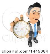 Clipart Of A 3d Business Man Holding Up A Stop Watch On A White Background Royalty Free Illustration