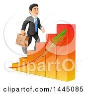 Poster, Art Print Of 3d Business Man Climbing Up A Bar Graph On A White Background