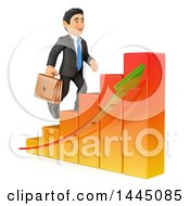 Clipart Of A 3d Business Man Climbing Up A Bar Graph On A White Background Royalty Free Illustration