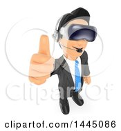 3d Business Man Giving A Thumb Up And Wearing Virtual Reality Glasses On A White Background
