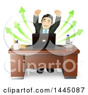 Clipart Of A 3d Business Man Cheering In Front Of A Laptop Computer With Success Arrows On A White Background Royalty Free Illustration