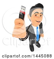 3d Business Man Holding Up A Usb Flash Drive On A White Background