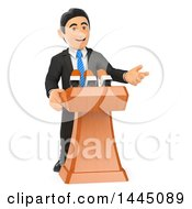 Clipart Of A 3d Business Man Or Politician Giving A Speech On A White Background Royalty Free Illustration