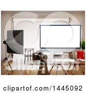 Clipart Of A 3d Computer In A Photography Studio Royalty Free Illustration by Texelart