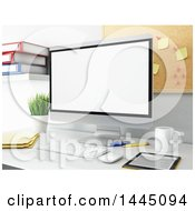 Clipart Of A 3d Desktop Computer In An Office Royalty Free Illustration by Texelart