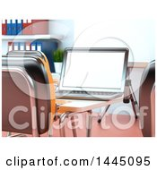 Poster, Art Print Of 3d Laptop Computer On A Desk In A Class Room Or Training Center