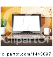 Clipart Of A 3d Christmas Laptop Computer On An Office Desk Royalty Free Illustration by Texelart