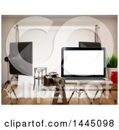 Clipart Of A 3d Laptop Computer In A Photography Studio Royalty Free Illustration by Texelart