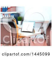 Poster, Art Print Of 3d Tablet Computer On A Desk In A Class Room Or Training Center
