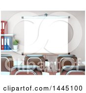 Clipart Of A 3d Class Room Or Training Center Interior With A Projector Screen Royalty Free Illustration