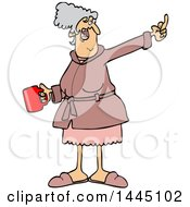 Cartoon Angry Senior Caucasian Woman In Her Robe Holding Coffee And Flipping The Bird