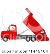 Cartoon Caucasian Man Operating A Red Hydraulic Dump Truck And Dumping Hearts
