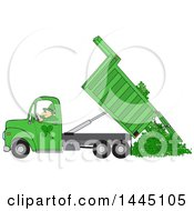 Cartoon Leprechaun Operating A Green Hydraulic Dump Truck And Dumping Clovers