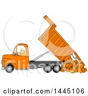 Clipart Of A Cartoon Caucasian Man Operating An Orange Hydraulic Dump Truck And Dumping Pumpkins Royalty Free Vector Illustration by djart