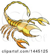 Clipart Of A Sketched Yellow Astrology Zodiac Scorpio Scorpion Royalty Free Vector Illustration by cidepix