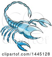 Clipart Of A Sketched Blue Astrology Zodiac Scorpio Scorpion Royalty Free Vector Illustration