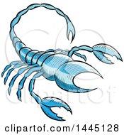 Poster, Art Print Of Sketched Blue Astrology Zodiac Scorpio Scorpion