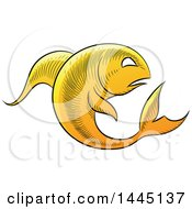 Clipart Of A Sketched Golden Yellow Astrology Zodiac Pisces Fish Royalty Free Vector Illustration