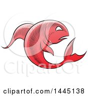 Clipart Of A Sketched Red Astrology Zodiac Pisces Fish Royalty Free Vector Illustration