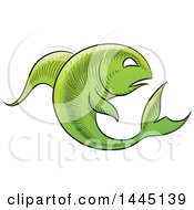 Clipart Of A Sketched Green Astrology Zodiac Pisces Fish Royalty Free Vector Illustration by cidepix