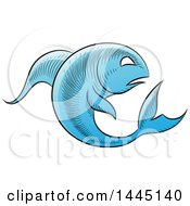 Clipart Of A Sketched Blue Astrology Zodiac Pisces Fish Royalty Free Vector Illustration