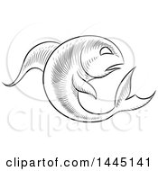 Clipart Of A Sketched Black And White Astrology Zodiac Pisces Fish With A White Fill Royalty Free Vector Illustration