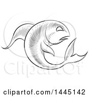 Sketched Black And White Astrology Zodiac Pisces Fish