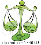Clipart Of Sketched Green Astrology Zodiac Libra Scales Royalty Free Vector Illustration