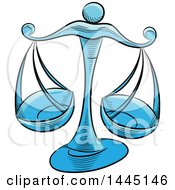 Clipart Of Sketched Blue Astrology Zodiac Libra Scales Royalty Free Vector Illustration