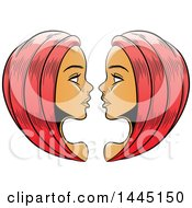 Clipart Of Sketched Red Haired Astrology Zodiac Gemini Twins Royalty Free Vector Illustration by cidepix