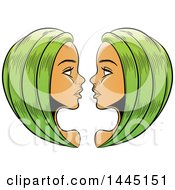 Clipart Of Sketched Green Haired Astrology Zodiac Gemini Twins Royalty Free Vector Illustration by cidepix