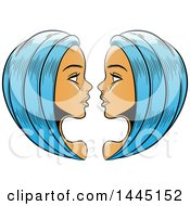 Clipart Of Sketched Blue Haired Astrology Zodiac Gemini Twins Royalty Free Vector Illustration by cidepix